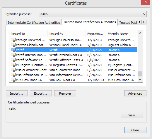 Installing the Certificate Authority Certificate